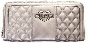 Love Moschino Silver Quilted Wallet In Faux Leather