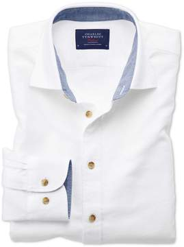 Charles Tyrwhitt Classic Fit Washed Textured White Cotton Casual Shirt Single Cuff Size Medium
