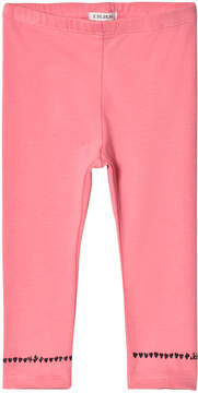 Ikks Pink Leggings with Heart Embroidery