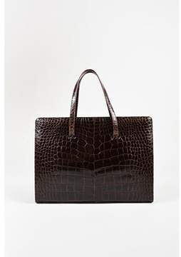 Lambertson Truex Pre-owned Brown Alligator Skin Top Handle Frame Tote Bag.