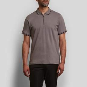 Kenneth Cole New York Solid Interlock Zip Polo Shirt Shirt