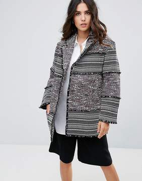 French Connection Pixel mix Cotton Cocoon Coat