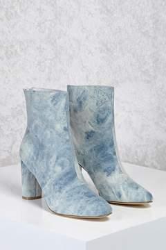 Forever 21 Acid Wash Denim Ankle Boots