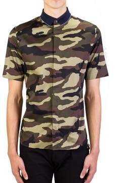 Christian Dior Men's Camouflage Short Sleeve Cotton Dress Shirt Blue.