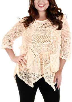 Lily Cream Open-Knit Three-Quarter Sleeve Tunic - Plus