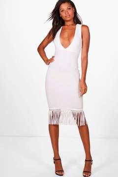 boohoo Plunge and Tassle Hem Midi Dress