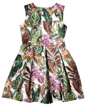 Oscar de la Renta Girl's Jungle Monkey Mikado Party Dress