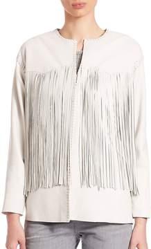 Eleventy Women's Leather Fringe-Trimmed Jacket