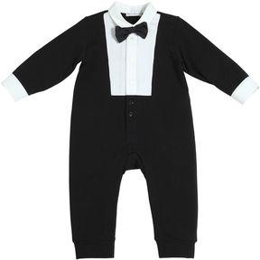 Cotton Fleece & Poplin Tuxedo Romper