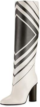Anya Hindmarch Large Diamond Knee-High Boot, White/Black