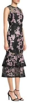 Shoshanna Embroidered Sleeveless Sheer Dress