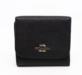 Michael Kors Black Grossgrain Pebble Leather Gold Trifold Wallet - BLACKS - STYLE