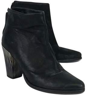 AllSaints Black Stacked Heel Booties