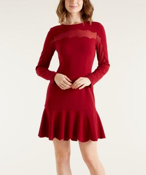 Bebe Red Semisheer-Panel Drop-Waist Dress