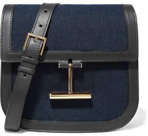 Tom Ford Tara Small Leather-trimmed Denim Shoulder Bag - Blue