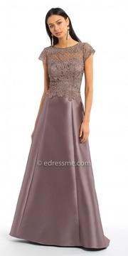 Camille La Vie V Back Lace Mikado Evening Dress