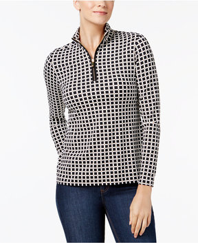 Charter Club Partial-Zip Mock-Neck Printed Top, Created for Macy's