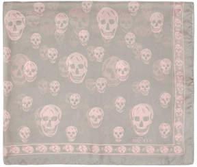 Alexander McQueen Grey Silk Skull Scarf