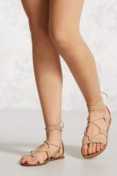 Forever 21 Faux Suede Ankle-Wrap Sandals