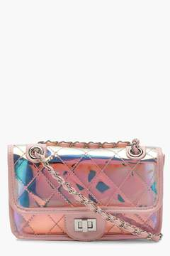 boohoo Holographic Clear Quilt Cross Body