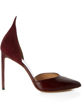 Francesco Russo Snakeskin and suede point-toe pumps