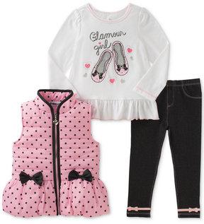 Kids Headquarters 3-Pc. Dots & Bows Vest, T-Shirt & Denim Leggings Set, Baby Girls (0-24 months)