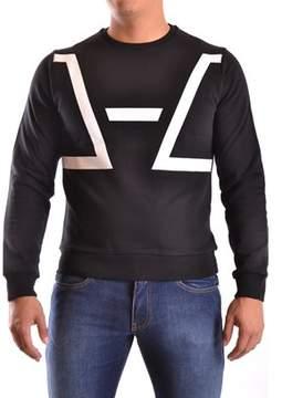 Les Hommes Men's White/black Cotton Sweatshirt.