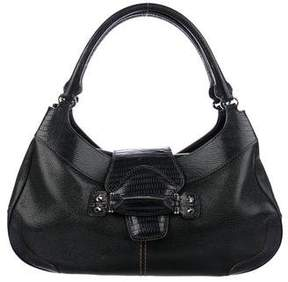 Tod's Lizard-Trimmed Shoulder Bag
