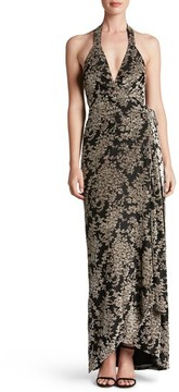 Dress the Population Women's Erica Floral Velvet Wrap Gown