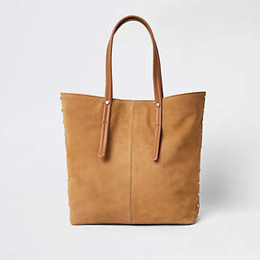River Island Beige suede leather handle shopper