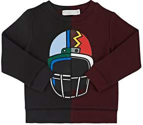 Stella McCartney KIDS' HELMET-PRINT TWO-TONE COTTON FLEECE SWEATSHIRT