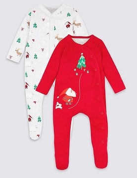 Marks and Spencer 2 Pack Pure Cotton Christmas Sleepsuits