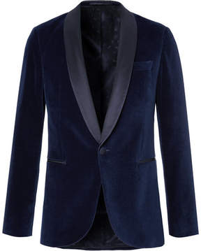 HUGO BOSS Blue Nemir Shawl-Collar Cotton-Velvet And Silk Tuxedo Jacket