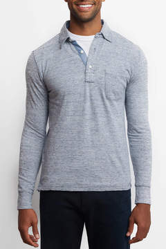 Faherty Long Sleeve Polo Stripe Knit Top
