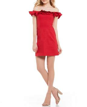 WAYF Gayle Off the Shoulder Tiered Ruffle Sleeve A-Line Dress