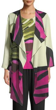 Caroline Rose Palm Leaf Georgette Long Jacket, Plus Size