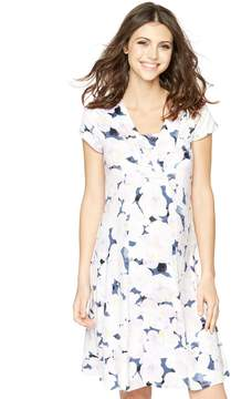 A Pea in the Pod Blue and Pink Floral Print Maternity Dress