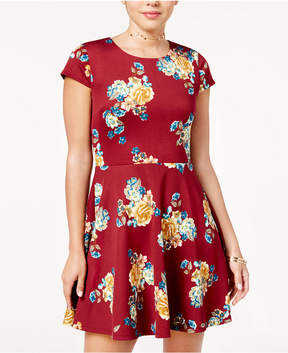 B. Darlin Juniors' Printed Lace-Up Fit & Flare Dress