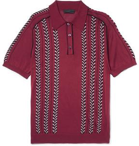 Prada Slim-Fit Jacquard-Knit Silk, Wool And Cotton-Blend Polo Shirt