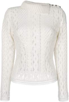 Ermanno Scervino ribbed collar sheer top