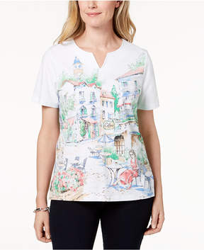 Alfred Dunner Scenic Cafe-Print T-Shirt