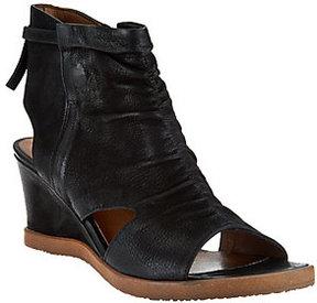 Miz Mooz As Is Leather Open Toe Wedge Booties - Becca