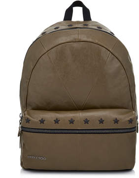 Jimmy Choo REED Olive Biker Leather Backpack with Black Stars