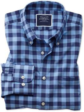 Charles Tyrwhitt Slim Fit Button-Down Non-Iron Twill Blue and Navy Gingham Cotton Casual Shirt Single Cuff Size XS