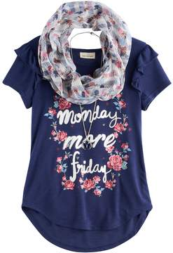Self Esteem Girls 7-16 Ruffled Sleeve Tee with Infinity Scarf & Necklace