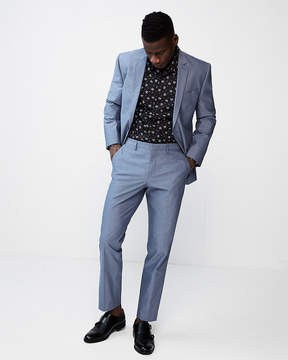 Express Slim Blue Chambray Cotton Suit Pant