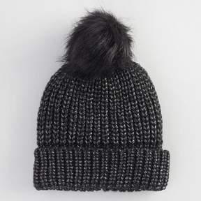World Market Black Foil Pom Hat