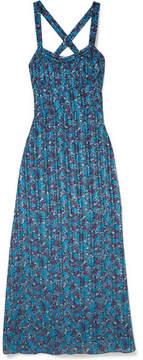Anna Sui Incense And Joy Printed Silk-jacquard Maxi Dress - Blue