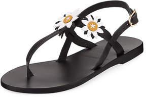 Ancient Greek Sandals Sylvie Leather T-Strap Sandal w/ Flower Appliqué;s