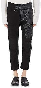 Haider Ackermann Men's Leather-Detailed Cotton Biker Pants